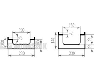 Лоток водоотводный бетонный ЛВБ Optima 150 №0/2 тип 2