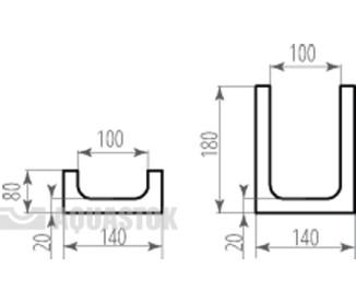 Лоток водоотводный бетонный ЛВБ Optima 200 №0/3 тип 1