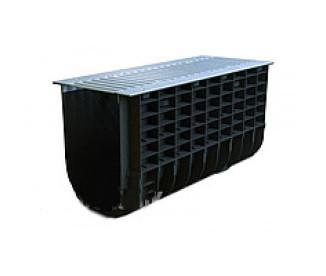 Лоток водоотводный пластиковый Profi Plastik DN300 H400 Park A15 в комплекте с решеткой