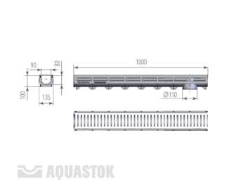 Лоток водоотводный пластиковый Aqua-Top DN90 H100 A15 с оцинкованной решеткой