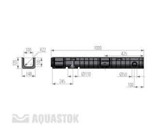Лоток водоотводный пластиковый Norma Plastik DN100 H120