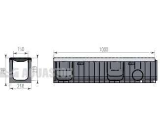 Лоток водоотводный пластиковый Profi Plastik DN150 H247 E600 в комплекте с решёткой