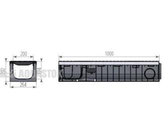 Лоток водоотводный пластиковый Profi Plastik DN200 H202 Е600 в комплекте с решёткой