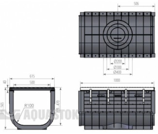 Лоток водоотводный пластиковый Profi Plastik DN500  H515 E600 в комплекте с решеткой