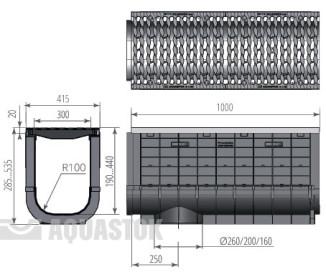 Лоток водоотводный пластиковый Profi Plastik DN300 H385 Е600 в комплекте с решеткой