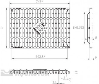 Ливневые решетки чугунные AQUA-PROM 750x300