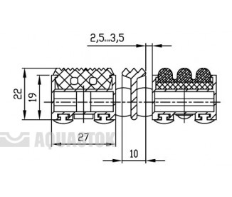 Половик Cleaner 22 - резина+ворс+скребок (размер под заказ)