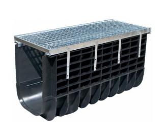 Лоток водоотводный пластиковый Profi Plastik DN500 H465 A15 в комплекте с решеткой