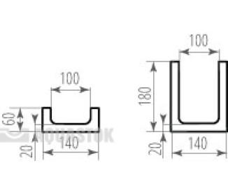 Лоток водоотводный бетонный ЛВБ Norma 100 №0/0 тип 1