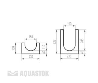 Лоток водоотводный бетонный ЛВБ Norma 150 №8 (уклон 0,5°)