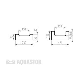 Лоток водоотводный бетонный ЛВБ Norma 150 №0/2 тип 2