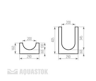 Лоток водоотводный бетонный ЛВБ Norma 200 №15 (уклон 0,5°)