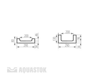 Лоток водоотводный бетонный ЛВБ Norma 200 №0/2 тип 2
