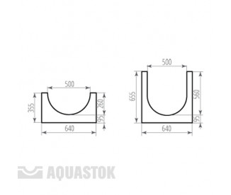 Лоток водоотводный бетонный ЛВБ Norma 500 №16 (уклон 0,5°)