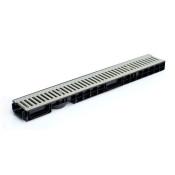 Лоток водоотводный пластиковый Norma Plastik DN150 H80 в комплекте со стальной решеткой
