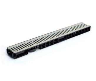 Лоток водоотводный пластиковый Norma Plastik DN100 H70 в комплекте со стальной решеткой