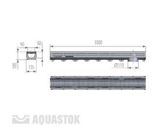 Лоток водоотводный пластиковый Aqua-Top DN90 H100 A15 с пластиковой решеткой